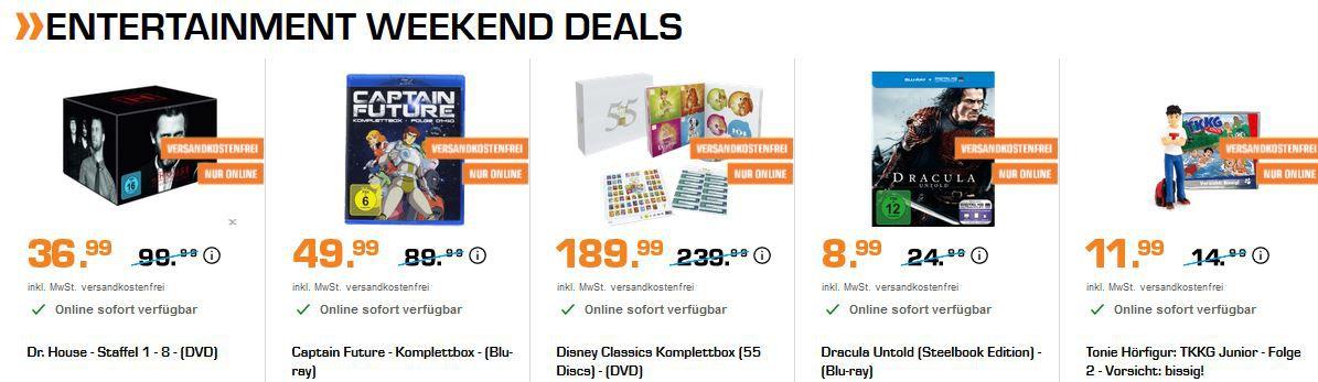 Saturn Entertainment Weekend Deals: z.B. Dr. House Gesamtbox [DVD] für 36,99€ (statt 44€)