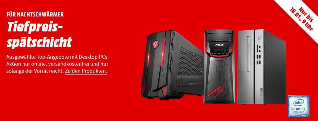 Media Markt PC Tiefpreisspätschicht: günstige Desktops   z.B. ASUS G11CD K Gaming PC für 659€ (statt 999€)