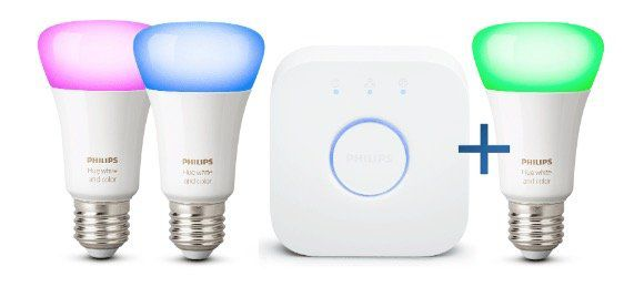 Philips Hue White and Color Ambiance 3x E27 inkl. Bridge für 111€ (statt 125€)