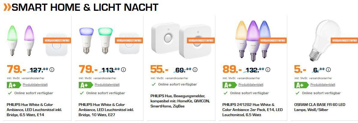 Saturn Late Night smart Licht & Home Aktion: z.B. D LINK DCS 8100LH IP Kamera für 77€ (statt 105€)