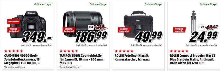 Knaller wieder da! Canon EOS 4000D DSLR Kamera + TAMRON Zoomobjektiv 18 200mm + Tasche + Stativ für 299€ (statt 485€)