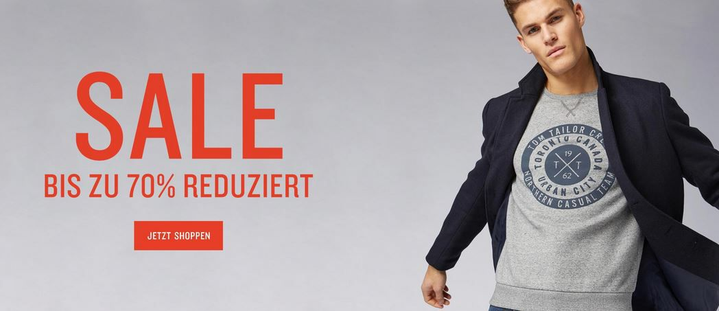 Tom Tailor Sale bis zu 70% Rabatt + 30% extra Rabatt z.B. Gefütterter Kurzmantel mit Kapuze für 113€ (statt 160€)