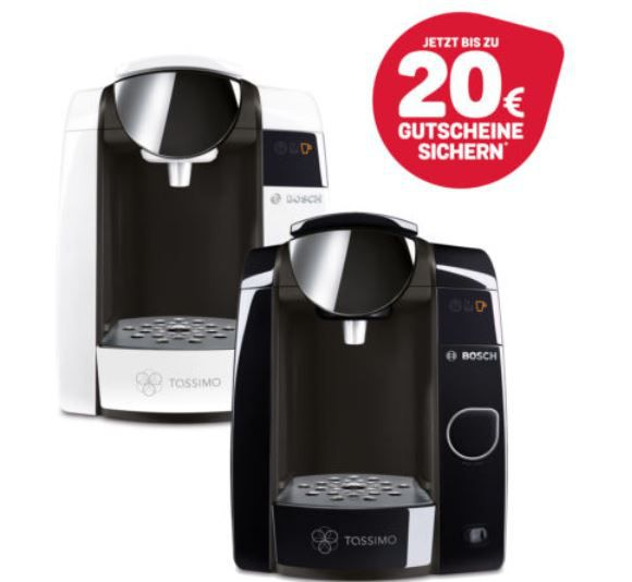 Bosch TASSIMO Joy T45 Kapsel Heißgetränkemaschine mit Wasserfilter für 44,99€ (statt 55€) + 20€ Kapselguthaben