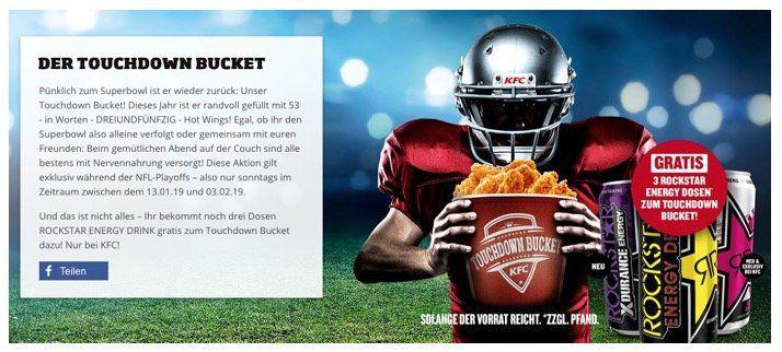 KFC Touchdown Bucket mit 53 Hot Wings + drei Dosen Rockstar Energy für 31,99€ (statt 45,31€)