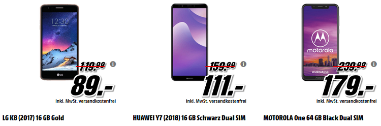 ? Media Markt Smartphone Fieber   z.B.  LG K8 (2017) 16 GB Gold + adidas Fussball für 89€ (statt 103€)