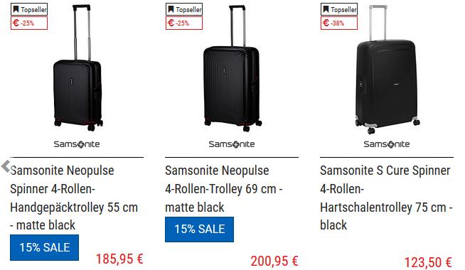 15% Gutschein für Samsonite Artikel bei Koffer direkt + VSK frei ab 20€