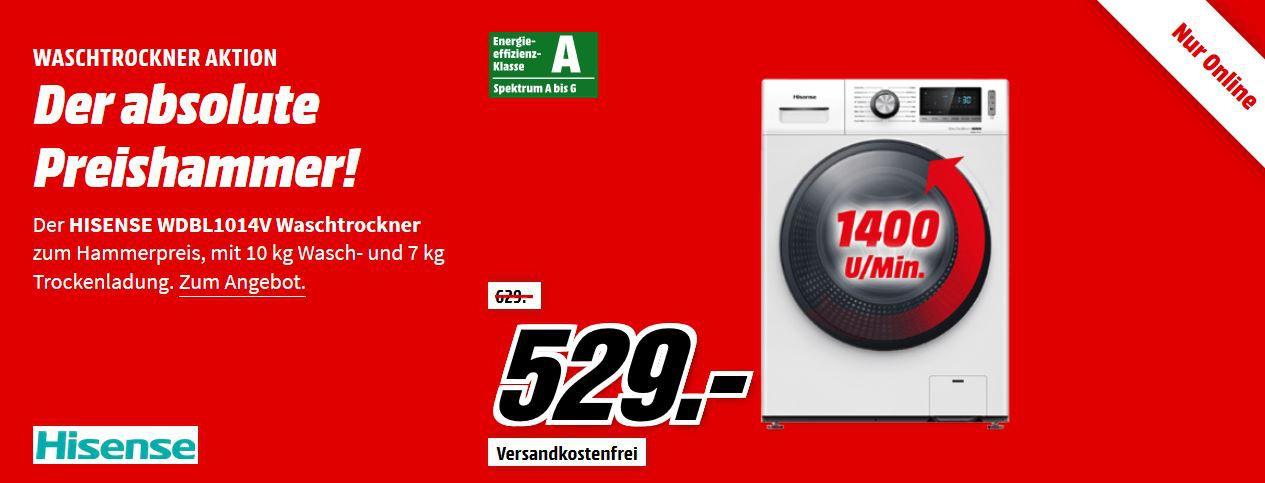 HISENSE WDBL1014V Waschtrockner (10 kg/7 kg, 1400 U/Min., A) für 529€ (statt 595€)