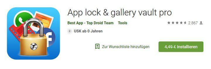 Android: App lock & gallery vault pro gratis (statt 4,49€)