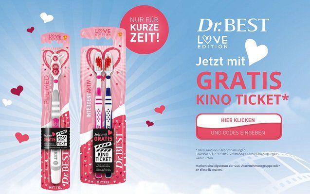 """Beim Kauf von 2 Dr. Best """"Love Edition"""" Zahnbürsten gratis Kinogutschein"""