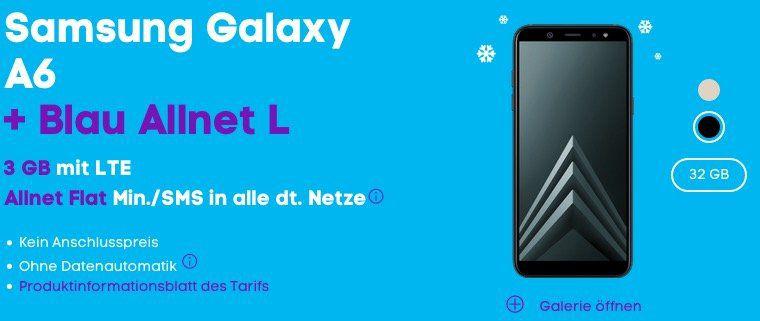 Blau Allnet L mit 3GB nur 13,99€ monatlich + Samsung Galaxy A6 32GB für 1€ (Wert 199€)