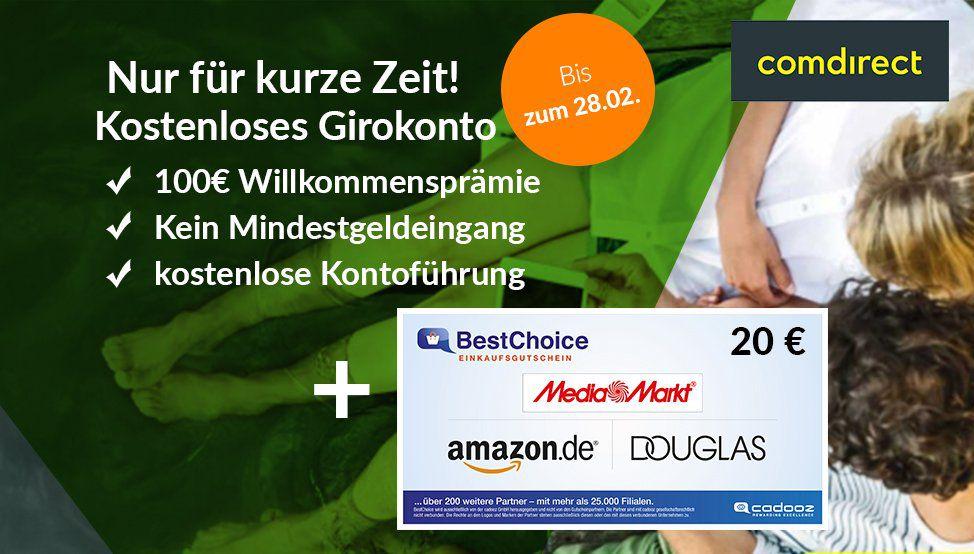 Comdirect: kostenloses Girokonto mit 100€ Prämie + 24 Monate je 2€ Gutschrift + 20€ Gutschein