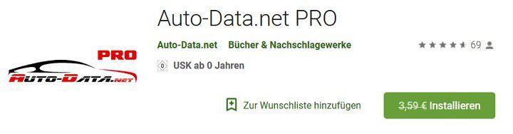Android: Auto Data.net PRO gratis (statt 3,59€)