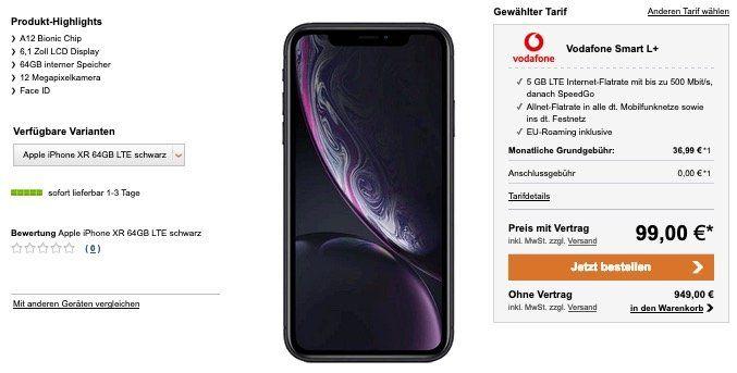 Apple iPhone XR für 99€ + Vodafone Smart L+ Allnet Flat mit 5GB LTE für 36,99€ mtl.
