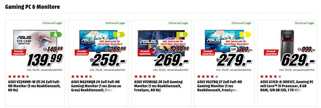Media Markt Asus Notebook Tiefpreisspätschicht: z.B. ASUS ZenBook S UX391UA mit i7  256GB SSD für 988€ (statt 1.204€)