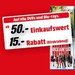 Blu-rays oder DVDs für mindestens 50€ kaufen – 15€ Rabatt erhalten