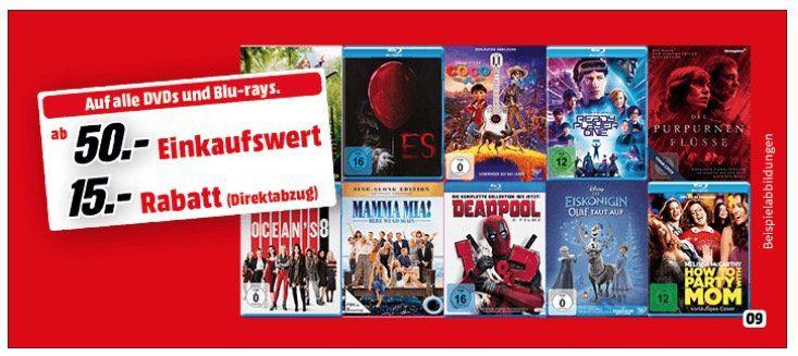 Blu rays oder DVDs für mindestens 50€ kaufen   15€ Rabatt erhalten