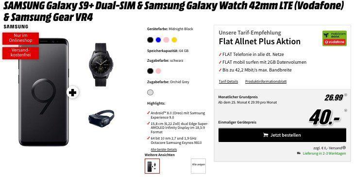 Knaller! ? Samsung Galaxy S9+ mit Galaxy Watch 42mm & Gear VR Brille nur 40€ + Vodafone Allnet Flat mit 2GB für 26,99€ mtl.