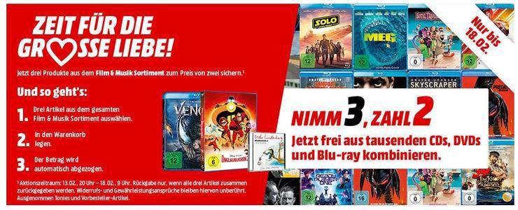 Bei MediaMarkt 3 Blu rays, CD oder DVDs kaufen und nur 2 bezahlen