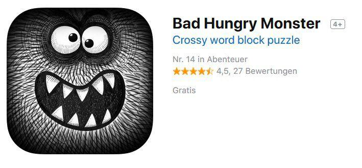 iOS: Bad Hungry Monster gratis (statt 3,49€)