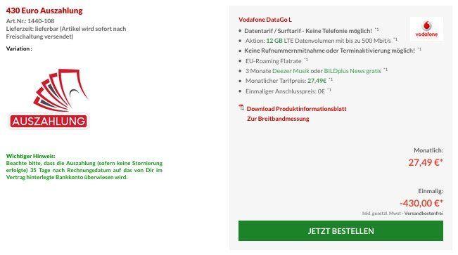 Knaller! Vodafone Data Go L mit 12GB LTE (bis 500 Mbit/s) nur 9,57€ mtl. dank 430€ Auszahlung + 100€ Reisegutschein