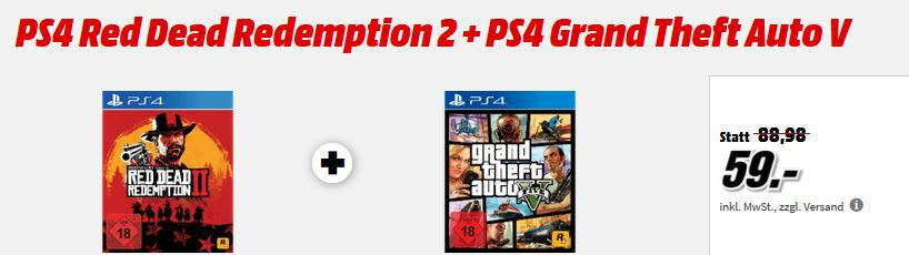 PS4 Games: Red Dead Redemption 2 + Grand Theft Auto V für 59€ (statt 72€) uvm. im Media Markt Dienstag Sale