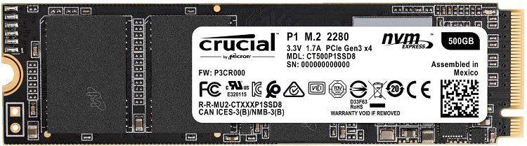 CRUCIAL P1 interne SSD (M.2, 500 GB) für 69€ (statt 78€)