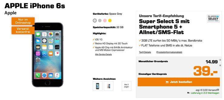 Apple iPhone 6s 32GB für 39€ + o2 Allnet Flat mit 3GB LTE für 14,99€ mtl.