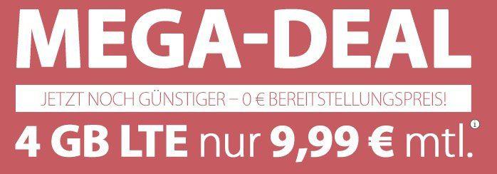 PremiumSIM mit 4GB LTE nur 9,99€ mtl. + keine Anschlussgebühr