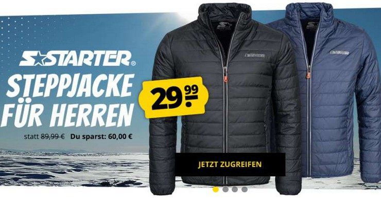 Starter Edge Herren Steppjacke für 33,94€