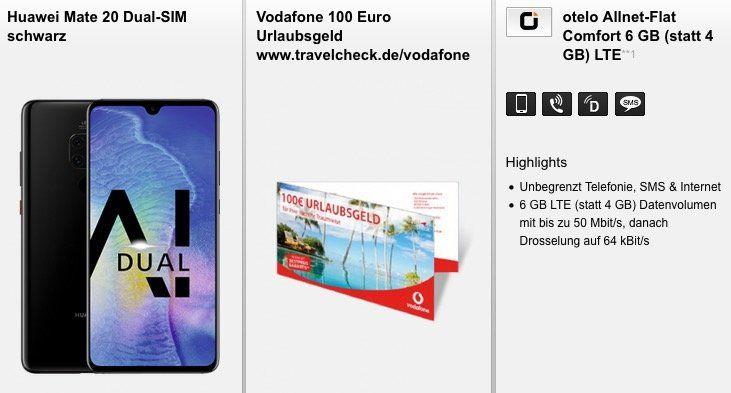 Huawei Mate 20 für 59,95€ + Vodafone Allnet Flat von Otelo mit 6GB LTE für 29,99€ mtl. + 100€ Reisegutschein