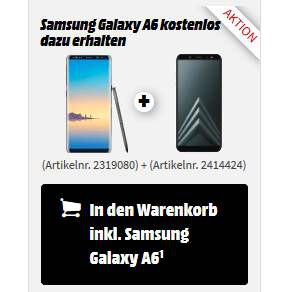Samsung Galaxy Note 8 + Samsung Galaxy A6 für 499€ (statt 610€)