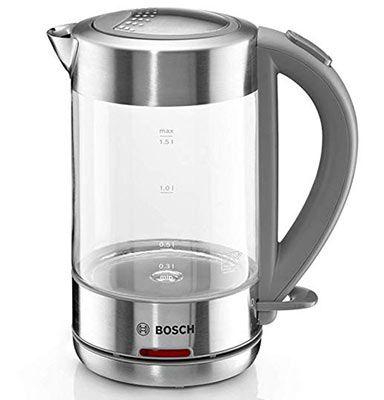 Bosch TWK7090B Wasserkocher (2200 Watt, 1,5L) aus Glas & Edelstahl für 49€ (statt 58€)