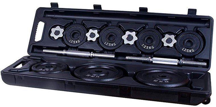 Hudora Kurzhantel Set im Koffer mit 30kg Hantelscheiben aus Eisen für 42,39€ (statt 107€)