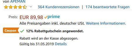 APEMAN Tragbarer Mini Beamer mit 3500 Lumen für 62,99€ (statt 90€)