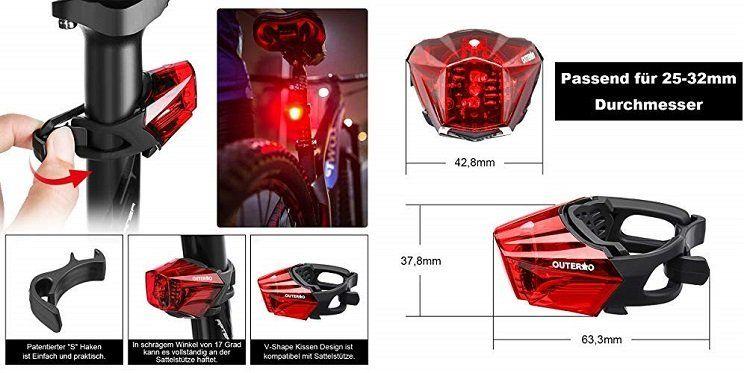 OUTERDO Fahrrad Rücklicht mit wiederaufladbaren Akku (StVZO zugelassen) für 13,01€ (statt 19€)
