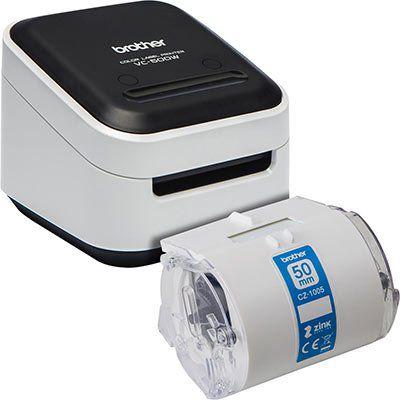 Brother VC 500W Vollfarb Etikettendrucker + Brother CZ 1005 Farbetikettenrolle ab 129€ (statt 154€)