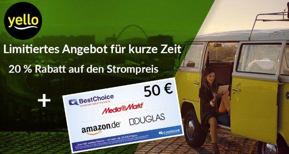 *nur 500 Mal* Yello Basic Stromangebote mit 20% Rabatt + 50€ BestChoice Gutschein   günstiger als Check24 und Verivox!
