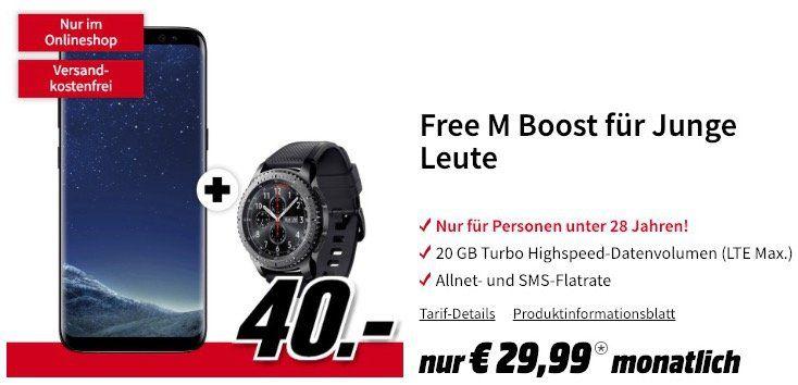 Junge Leute: Samsung Galaxy S8 + Gear S3 frontier nur 40€ + o2 Free M Boost mit 20GB LTE für 29,99€ mtl.