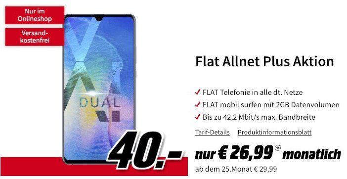 Huawei Mate 20 X für 40€ + Vodafone Allnet Flat mit 2GB für 26,99€ mtl.