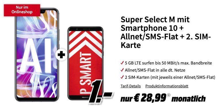 Huawei Mate 20 Lite + Huawei P smart für 4,95€ + o2 Allnet Flat mit 5GB LTE für 28,99€ mtl. + 2. SIM gratis inkl. Allnet Flat