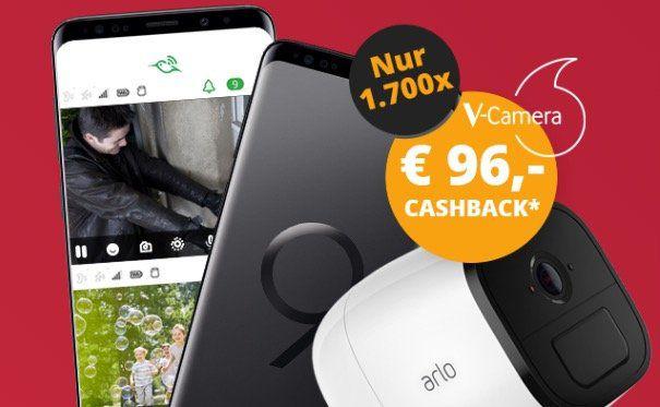 Knaller! ? Samsung Galaxy S9+ inkl. V Camera Arlo Go für 4,95€ + 96€ Cashback + Vodafone Smart L+ mit 7GB LTE (young 12GB) für 36,99€ mtl.