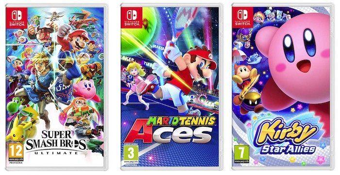 3 für 2 Nintendo Switch Spiele bei Amazon Spanien   z.B. Mario Tennis + Super Smash Bros. Ultimate + Kirby Star Allies für 94,77€ (statt 145€)
