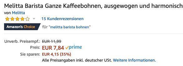 1kg Melitta Barista Crema ganze Bohnen (Stärke 3) ab 7,45€ (statt 13€)