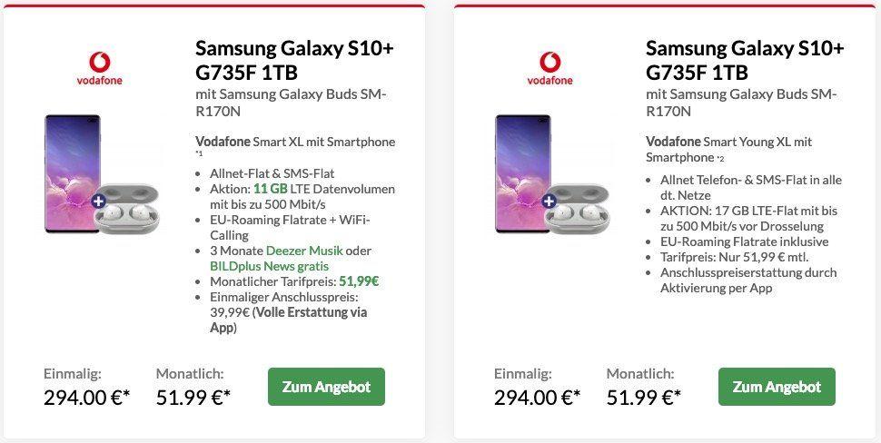 Samsung Galaxy S10+ mit 1TB für 294€ + gratis Samsung Galaxy Buds + Vodafone Flat mit 11GB LTE für 51,99€ mtl.   und noch mehr Angebote