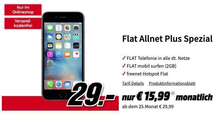 iPhone 6s 32GB für 29€ + Vodafone Allnet Flat mit 2GB für 15,99€ mtl.