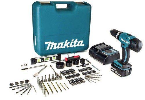 Makita DHP453SFTK Schlagbohrschrauber + Akku + Ladegerät + 101 tlg. Zubehör für 158,90€ (statt 211€)