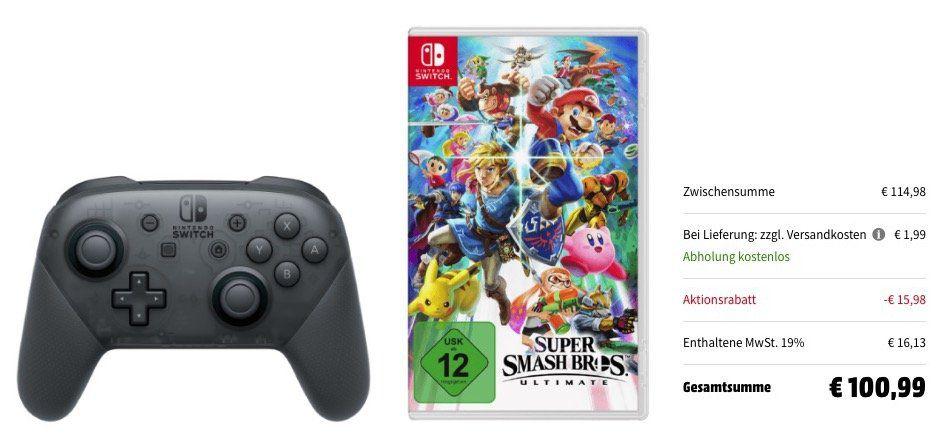 Switch Pro Controller + Super Smash Bros. Ultimate ab 99€ (statt 112€) + 10€ MM Gutschein
