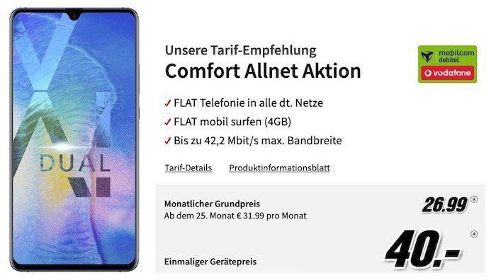 Huawei Mate 20 X für 40€ + Vodafone Allnet Flat mit 4GB für 26,99€ mtl.