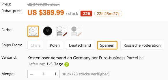 Ausverkauft! Xiaomi Mi Roborock Saugroboter mit Wischfunktion (2. Generation) für 345€