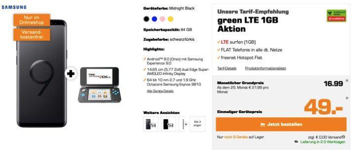 Nur 9x! Samsung Galaxy S9 + Nintendo New 2DS XL für 49€ + Vodafone Allnet Flat mit 1GB LTE für 16,99€ mtl.